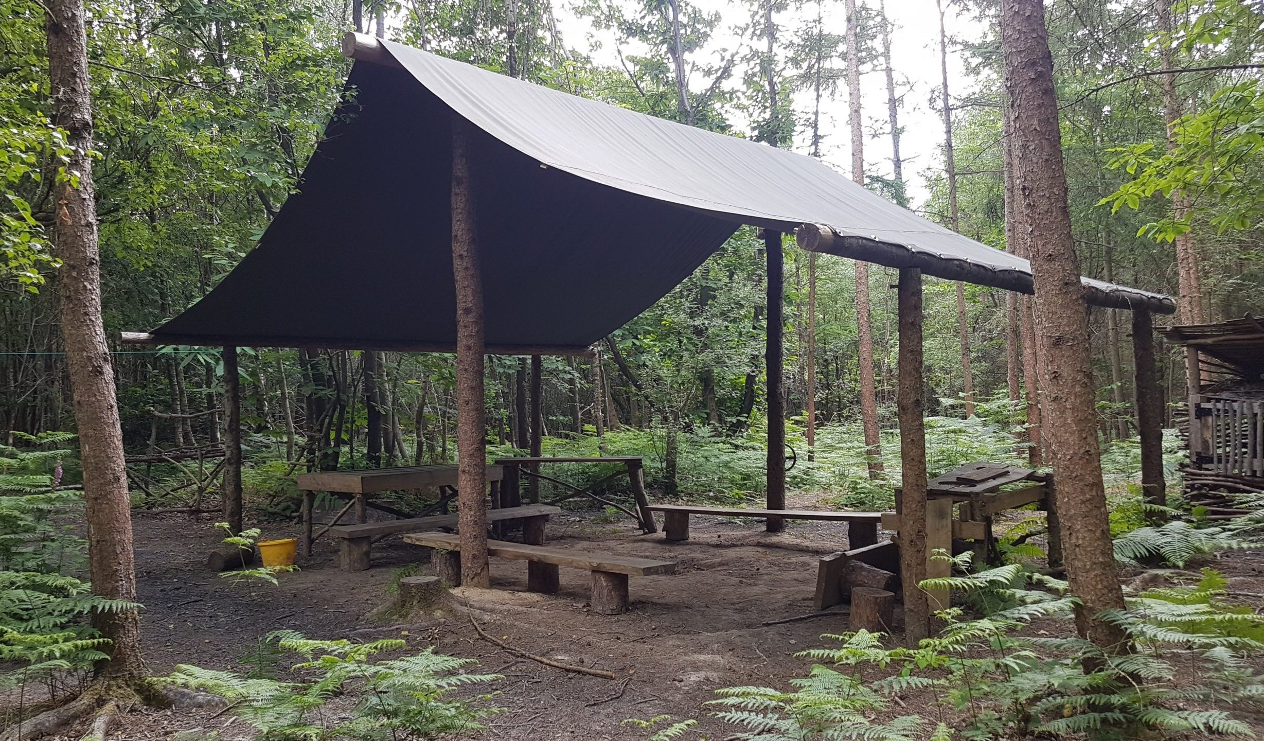 seating area in the woods with canvas covering